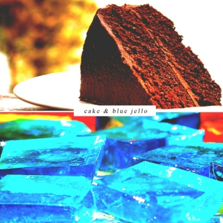 cake and blue jello