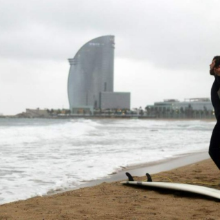 Surfin' in Barcelona Beach