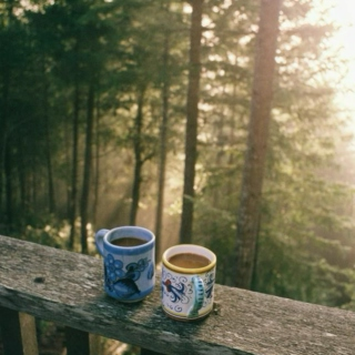 outside with a cup of coffee