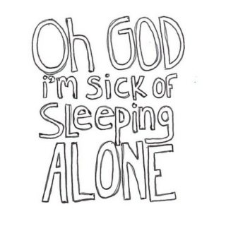 lying in bed alone.