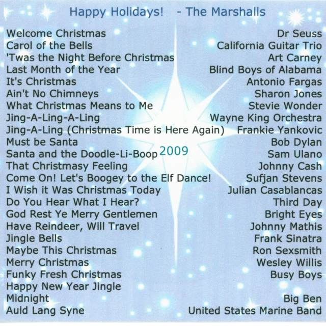 Marshall's Christmas CD 2009