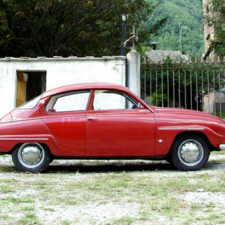 Let's go for a ride in an old red saab.