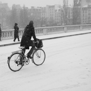 Biking in the snow...