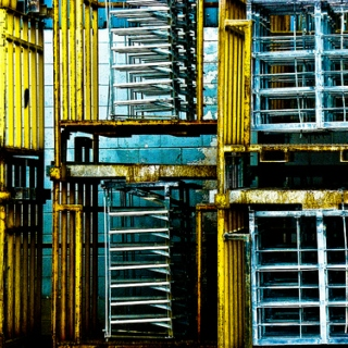 Several Mechanical Objects in a Warehouse Grooving With a Pict