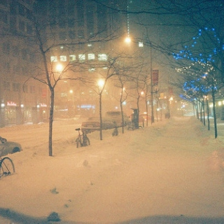 Walking home on a snowy, mysterious night