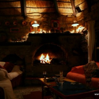 Winter, fireplace and wine