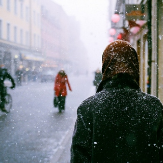 breathing in snowflakes.