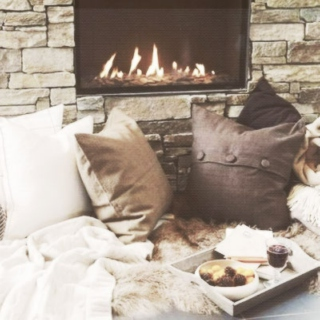 cuddling with wes by the fireplace