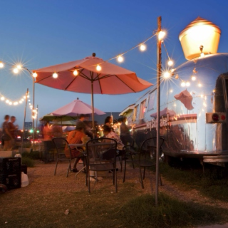 Austin 7pm Friday In Front of a Food Truck with a Beer in my Hand