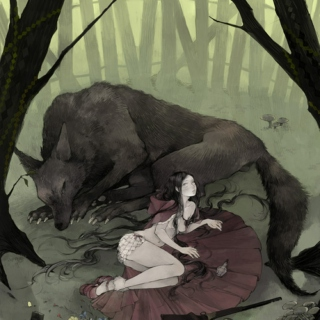 Hungry wolf and red riding hood sitting under a tree K.I.S.S.I.N.G.