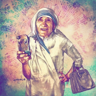 Dissipate Stress. Mother Teresa Takes Selfies.