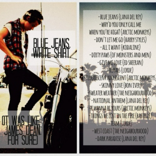 blue jeans, white shirt (it was like, james dean, for sure)