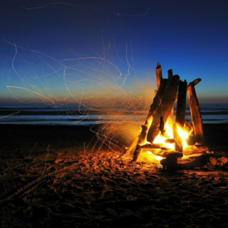 Campfire, guitar and marshmallow