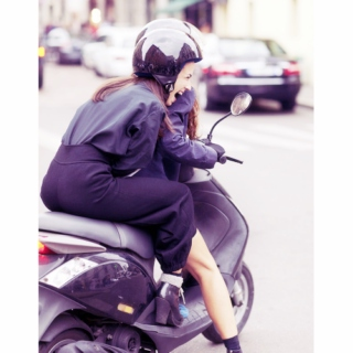 on a moped