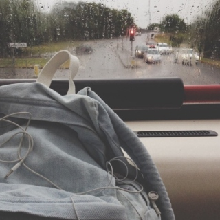 car ride on a rainy day