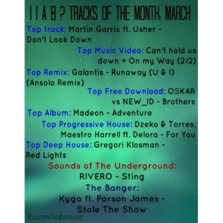 Tracks Of The Month: March