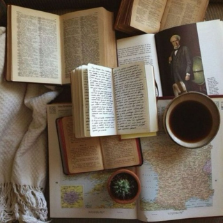 old books & hot coffee