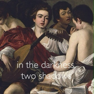in the darkness, two shadows