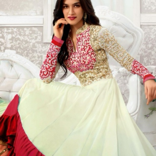 Kriti Sanon Off White and Pink Georgette Anarkali Dress
