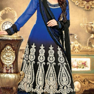 Black and Blue Embroidered Georgette Anarkali Suit
