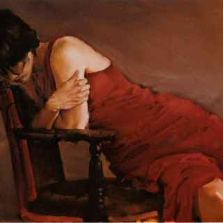 The woman with the red dress