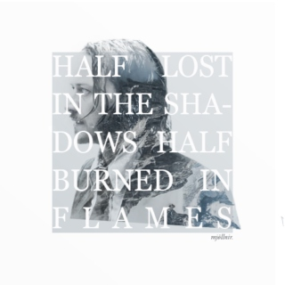 Half lost in the shadows, half burned in flames.
