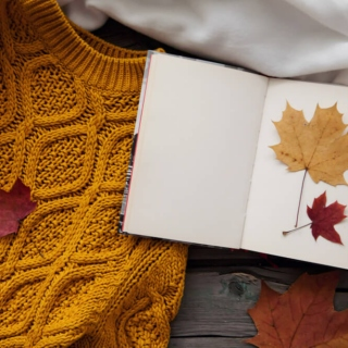 autumn leaves & cable-knit sleeves