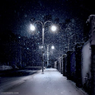 wandering outside at night and its snowing