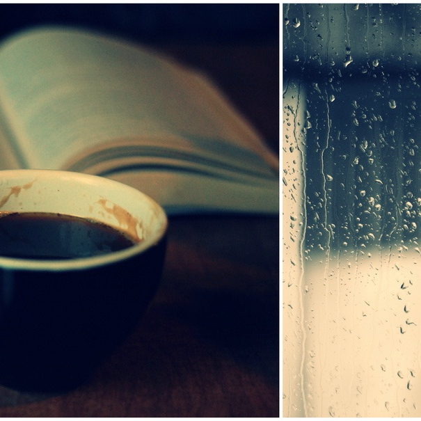 A hot cup of coffee on a rainy day ..