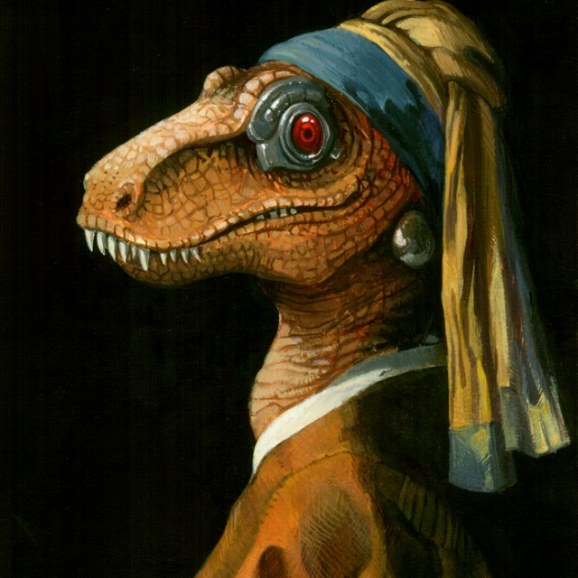 The Robot Dinosaur with the Pearl Earring