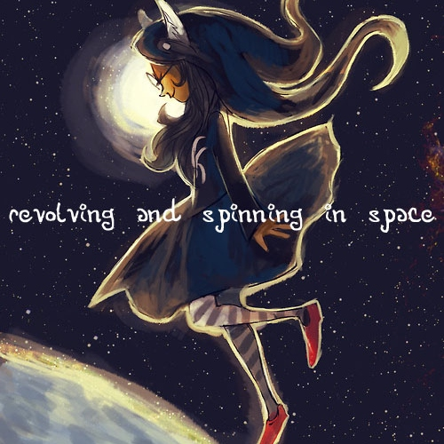 revolving and spinning in space