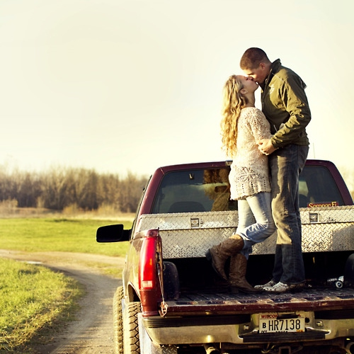 Riding shotgun With my hair undone In the front seat of his truck ♥