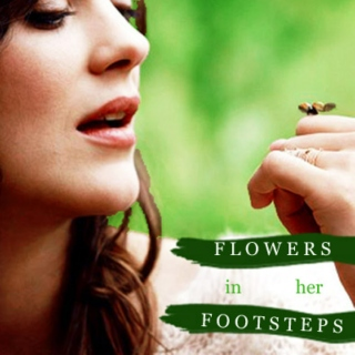 flowers bloom in her footsteps