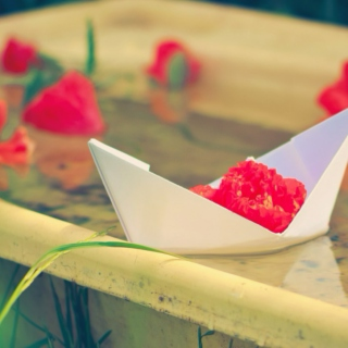 Hearts and Paper Boat Waves