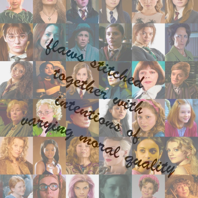 flaws stitched together with intentions of varying moral quality: a HP women mix