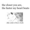 the closer you are, the faster my heart beats.