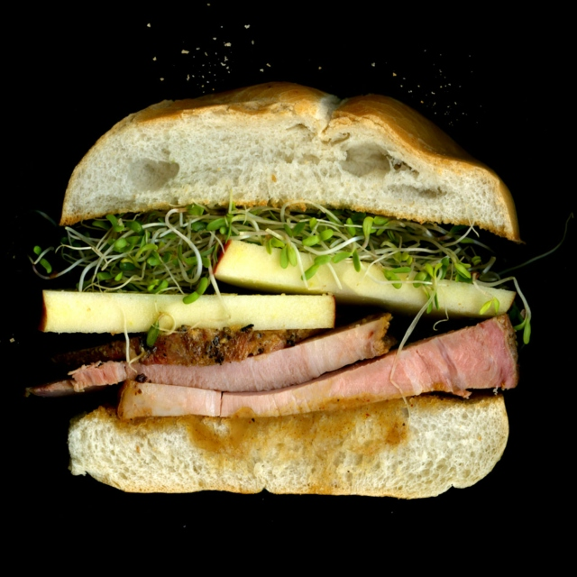 Roasted Pork Loin, Maple-Applesauce, Apples, Sprouts On a Toasted Roll