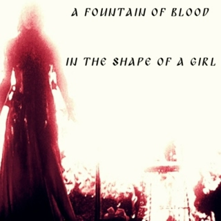 a fountain of blood in the shape of a girl