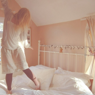 wake up, jump out of bed, be excited