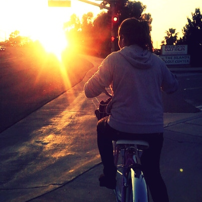 Riding a bike in a lazy afternoon