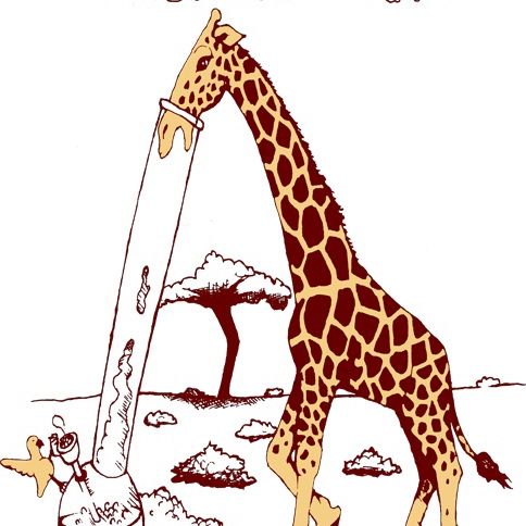 a giraffe and a bong