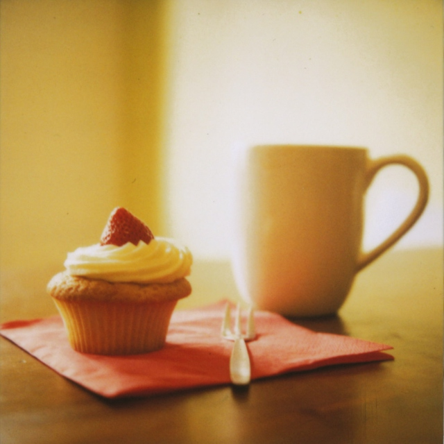 listen with tea and a cupcake