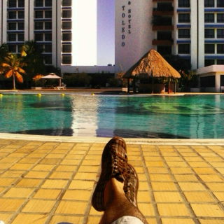 Chilling by the poolside