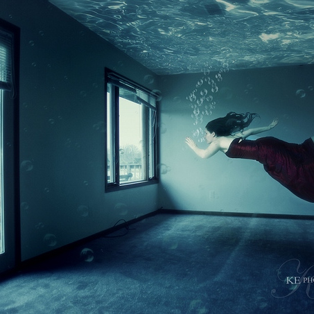 swimming in a flood