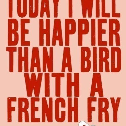 a bird with a french fry