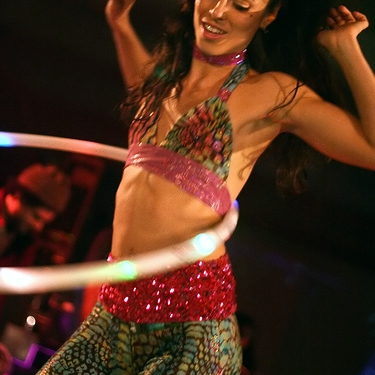 Spirals of Hoops in Hula Motion