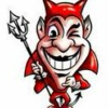 He's a little red man with horns and a pitchfork