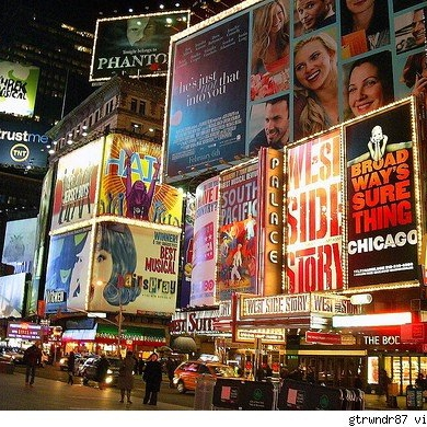 the lights of broadway shining bright