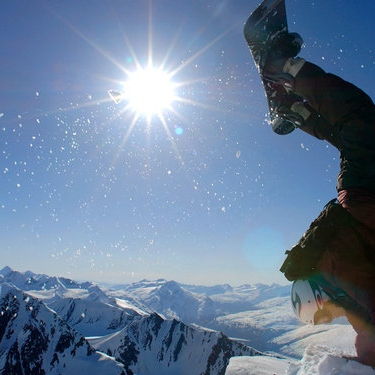 Hit the SLOPES. go snowboard.