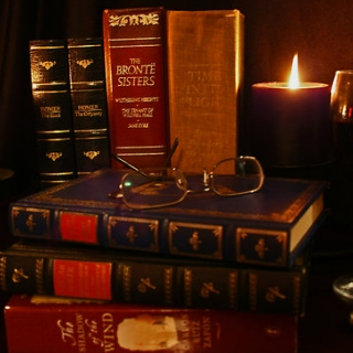 Books and candlelight